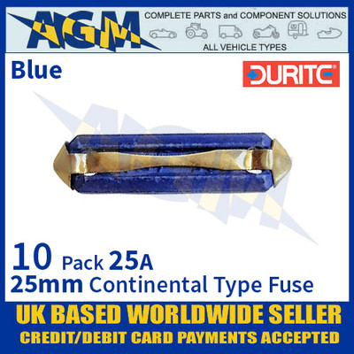0-230-25 Durite 25mm Blue Continental Type Ceramic Fuse, 25A, 10 Pack