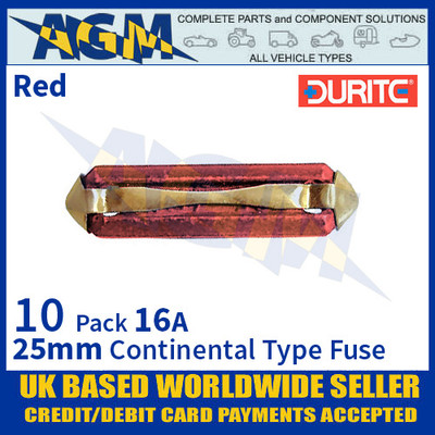 0-230-16 Durite 25mm Red Continental Type Ceramic Fuse, 16A, 10 Pack