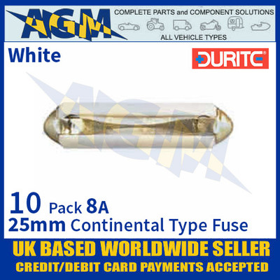 0-230-08 Durite 25mm White Continental Type Ceramic Fuse, 8A, 10 Pack