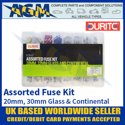 0-235-03 Durite Assorted 20mm, 20mm Glass & Continental Fuse Kit
