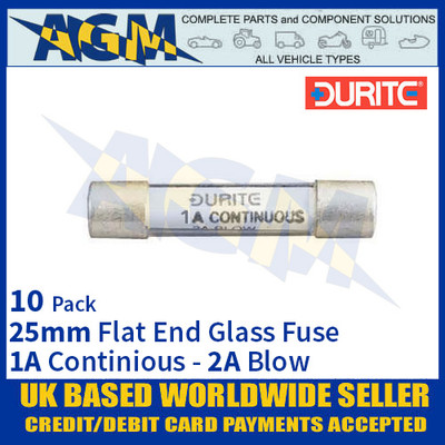 Durite 0-354-02, 25mm Flat-Ended Glass Fuse - 1A Cont with 2A Blow