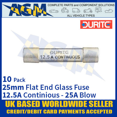 Durite 0-354-25, 25mm Flat-Ended Glass Fuse - 12.5A Cont with 25A Blow