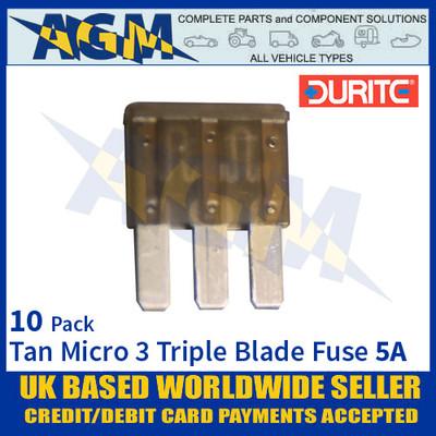 Durite 0-371-56, Tan Micro 3 Triple Blade Type Fuse - 5 Amp Fuse