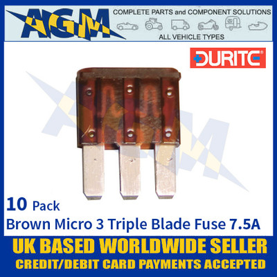 Durite 0-371-59, Brown Micro 3 Triple Blade Type Fuse - 7.5 Amp Fuse