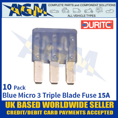 Durite 0-371-66, Blue Micro 3 Triple Blade Type Fuse - 15 Amp Fuse
