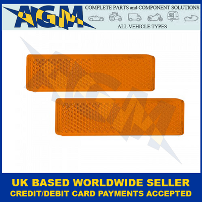 Led Autolamps 9020A, Twin Pack Of Amber, Rectangular Side Reflectors