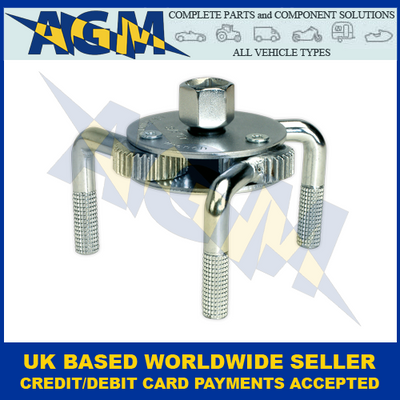 """Sealey AK643, Oil Filter Claw Wrench, 1/2"""" And 3/8"""" Sq Drive, 65mm-110mm"""