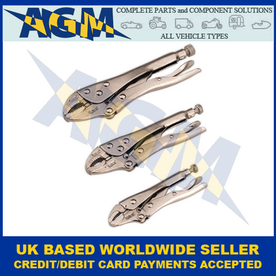 Siegen S0463, Locking Pliers, Three Piece Set
