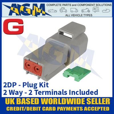 Deutsch 'DT' Series Connector - 2DP Plug Kit - 2 Way - 2 Terminals Included