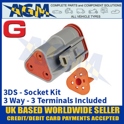 Deutsch 'DT' Series Connector - 3DS Socket Kit - 3 Way - 3 Terminals Included
