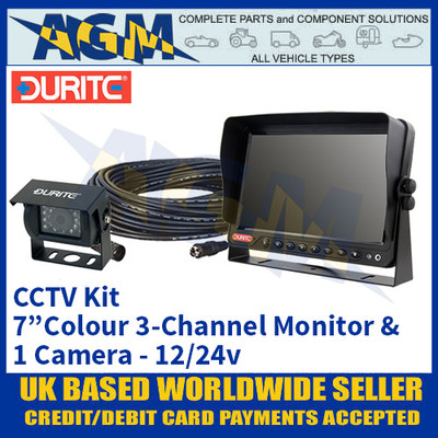 "Durite 0-775-68 CCTV Kit with 7"" Colour 3-Channel Monitor + 1 Camera 12/24v"