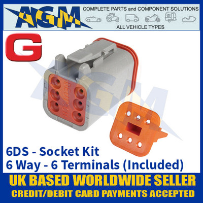 Deutsch 'DT' Series Connector - 6DS Socket Kit - 6 Way - 6 Terminals Included