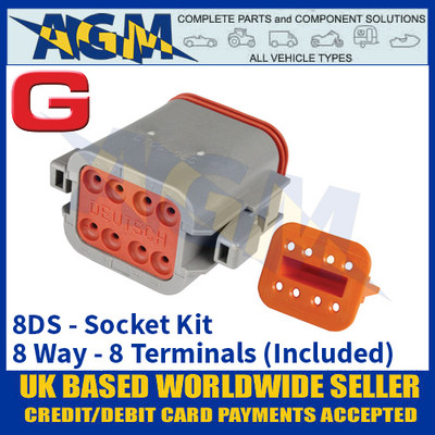 Deutsch 'DT' Series Connector - 8DS Socket Kit - 8 Way - 8 Terminals Included