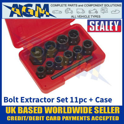 "Sealey AK8184 Bolt Extractor Set, 11 Piece, 3/8"" Square Drive or Spanner"