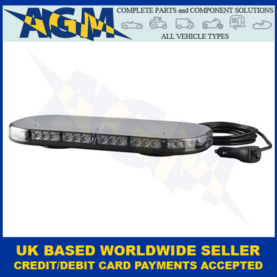 LED Autolamps, MLB380R10ABM-VM, Magnetic, Led Mini Lightbar,  Amber, 12/24v