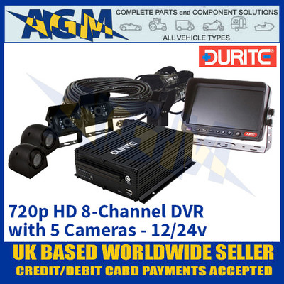 Durite 0-775-86 12/24v 720p HD 8-Channel DVR with 5 Cameras - Best In Class!
