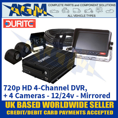 Durite 0-775-89 12/24v 720p HD 4-Channel DVR with 4 Cameras - Mirrored - Best In Class