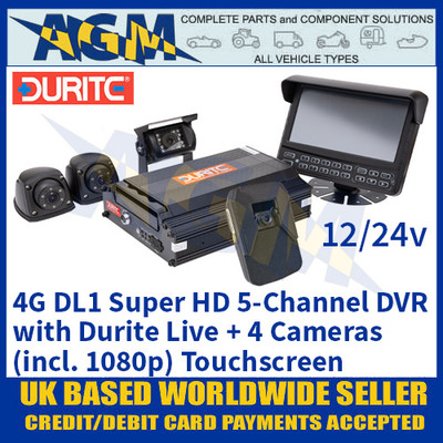 4G DL1 Super HD 5-Channel DVR with Durite Live + 4 Cameras (incl. 1080p) Touchscreen 12/24v