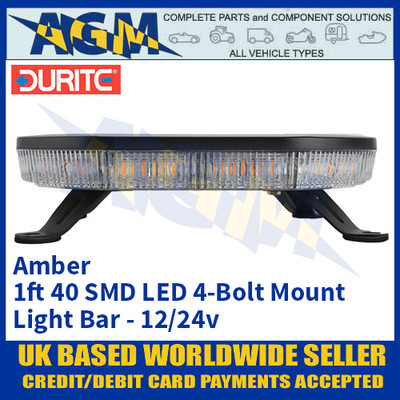 Durite 0-443-44 Amber 1ft 40 SMD LED 4-Bolt Mount Light Bar, 12/24v