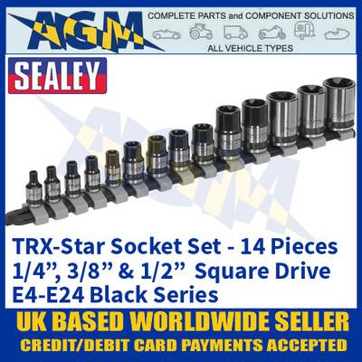 "Sealey AK618B TRX-Star Socket Set, 14 piece, 1/4"", 3/8"" & 1/2"" Sq Drive, E4-EE24 Black Series"