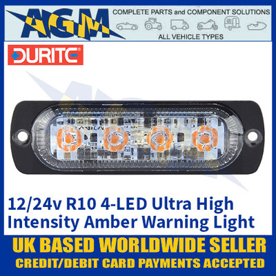 Durite 0-441-71, R10, 4-LED Ultra High Intensity Amber Warning Light, 12/24v