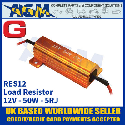 Guardian Automotive RES12 Load Resistor, 12 Volt, 50 Watts, Dummy Load Resistor