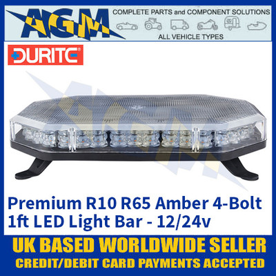 Durite 0-443-31, 4-Bolt Premium LED Amber Light Bar 1ft 12/24v, Light Bar