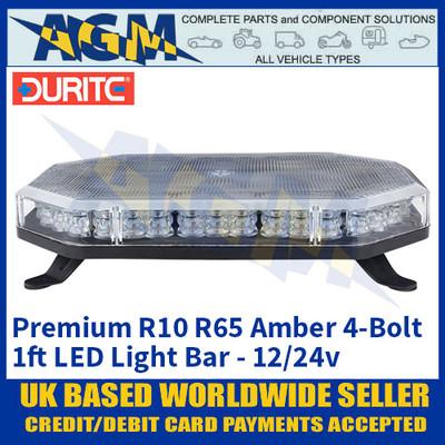 Durite 0-443-31, 4-Bolt Premium LED Amber Light Bar 1ft 12/24v, Light Bar