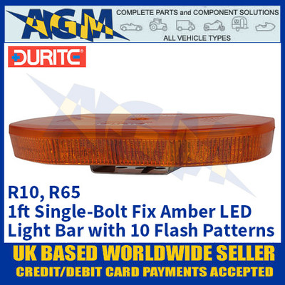 Durite 0-443-47 Amber 1ft 40 SMD LED Single-Bolt Mount Light Bar, 12/24v