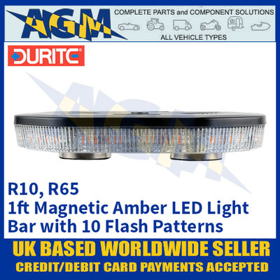 Durite 0-443-45 Amber 1ft 40 SMD LED Magnetic Mount Light Bar, 12/24 Volt