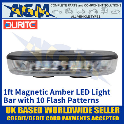 Durite 0-443-37 Amber 1ft 72 LED Magnetic Mount Light Bar, 12/24 Volt