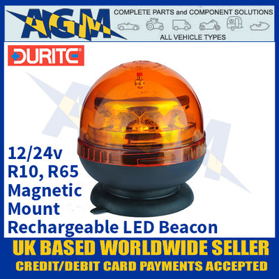 Durite 0-445-15 Magnetic Mount Rechargeable Amber LED Beacon, 12/24 Volt