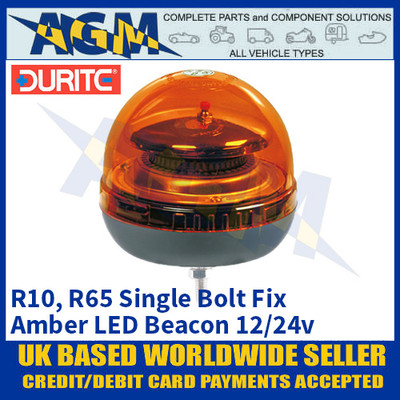 Durite 0-444-41 Single Bolt Fix Multifunctional Amber LED Beacon, 12/24v