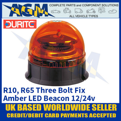 Durite 0-444-43 3-Bolt Fix Multifunctional Amber LED Beacon, 12/24v