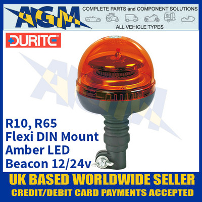 Durite 0-444-59 Flexi DIN Mount Multifunctional Amber LED Beacon, 12/24v