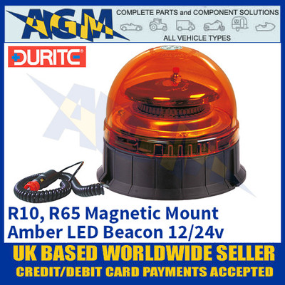 Durite 0-444-85 Magnetic Mount Multifunctional Amber LED Beacon, 12/24v