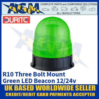 Durite 4-445-08 3-Bolt Fix Multifunctional Green LED Beacon, 12/24v
