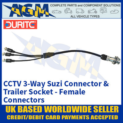 Durite 0-775-91 CCTV 3-Way Suzi Connector & Trailer Socket, Female Connectors