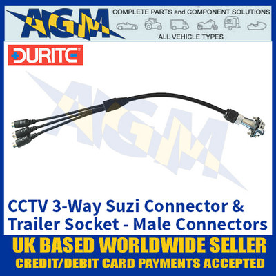 Durite 0-775-92 CCTV 3-Way Suzi Connector & Trailer Socket, Male Connectors