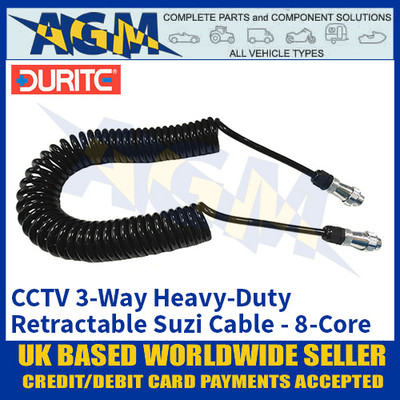 Durite 0-775-99 CCTV 3-Way Heavy-Duty Retractable Suzi Cable, 8-Core