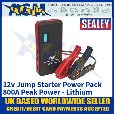 Sealey SL67S 12 Volt Battery Jump Starter Pack, 800A Peak Power, Lithium