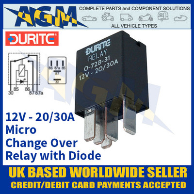 Durite 0-728-31 Micro Change Over Relay 12 Volt, 20/30A with Diode