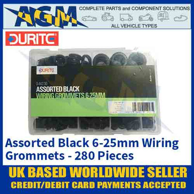 Durite 0-447-30 Assorted Black Wiring Grommet Kit, 280 pieces, 6-25mm