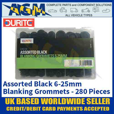 Durite 0-452-30 Assorted Black Blanking Grommet Kit, 280 pieces, 6-25mm