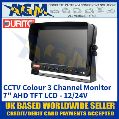 "Durite 0-776-73 CCTV Monitor - 7"" AHD 3-Channel Monitor LFT LCD 12/24V"