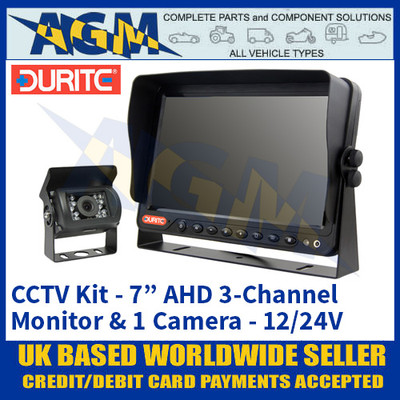 """Durite 0-776-72 CCTV Kit - 7"""" AHD LFT LCD 3-Channel Colour Monitor + 1 Camera 12/24V"""