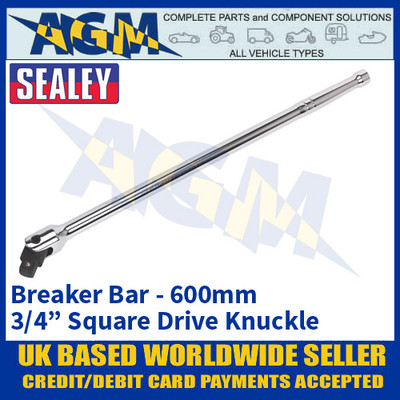 "Sealey AK731 Breaker Bar 600mm 3/4"" Square Knuckle Drive, Heavy Duty"