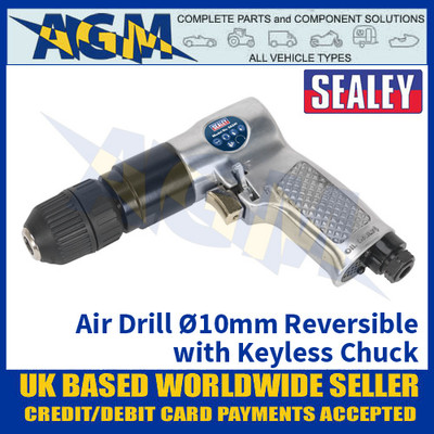 Sealey SA241 Air Drill Ø10mm Reversible with Keyless Chuck, Air Drill, Air Tools