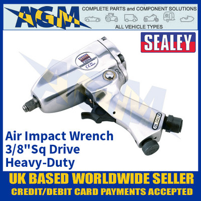 "Sealey SA912 Air Impact Wrench 3/8""Sq Drive Heavy-Duty, Air Tools, Air Wrench"