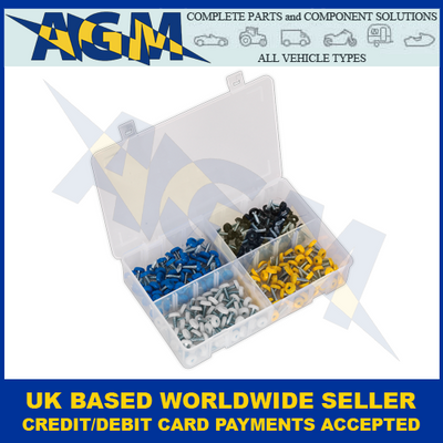 Sealey AB076NP, Assorted Colours Of Number Plate Screws, 200 Pieces